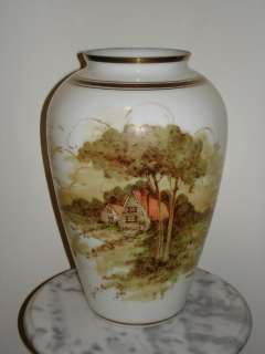 DeLuxe Inc USA Hand Painted signed 13 Milk Glass Vase