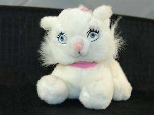 Disney Plush White Kitty Cat Marie Pink Bow Lovey NR
