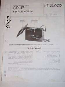 Kenwood Service Manual~CP J7 Stereo Cassette Player