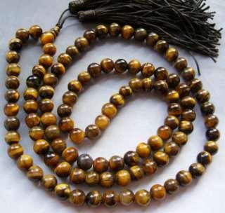 Tibet Buddhist 108 Tiger Eye Gem Prayer Beads Mala Neck