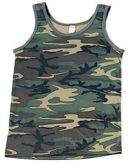 Mens CAMO TANK TOP Shirt Camouflage Clothes Hunting Plus Size Clothing