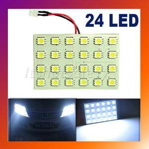 Panel SMD Car Dome 24 LED Light Bulb Lamp Adapter