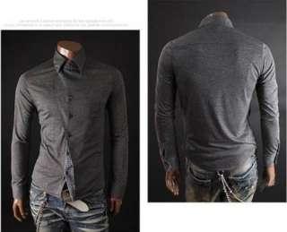 korea Mens Slim fit Casual Dress shirts M L XL Irregular Front