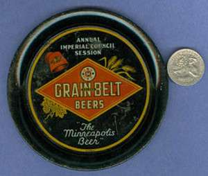 AUTHENTIC OLD GRAIN BELT BEER TIP TRAY MASONIC COUNCIL AD719