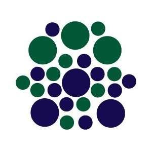 Set of 90   Dark Blue Navy / Dark Green Circles Polka Dots