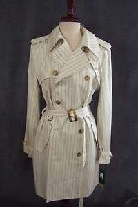 Ivory belted Trench Coat Ralph Lauren Women lined pinstripe overcoat L
