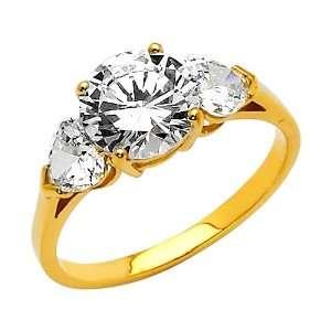 14K Yellow Gold Round Three Stone CZ Cubic Zirconia Engagement Ring