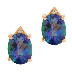 Oval Millenium Blue Mystic Quartz and Diamond 14k Rose Gold Earrings