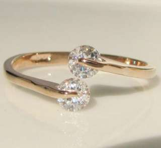 Swarovski crystal rose gold GP Ring promise engagement wedding