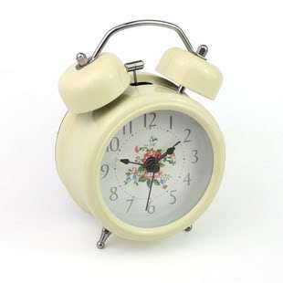 Rose Flower Hammer Twin Double Bell Desk Table Alarm Clock