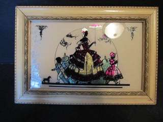 Silhouette Framed VICTORIAN LADY WITH CHILDREN Foil Reverse Painted