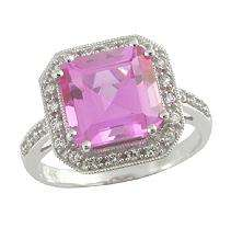 Lab Created Pink & White Sapphire Ring in 14K White Gold