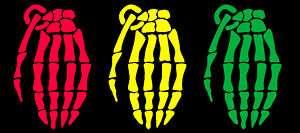 7in Grenade Gloves Skull Hand RASTA PACK Decal/Sticker