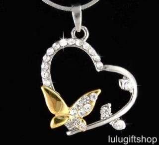 18k gold plated butterfly heart pendant necklace use swarovski