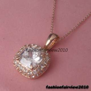 Crystals 18K Rose Gold GP Square Solitaire Pendant Necklace IN092A