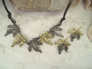 Anju Art Jewelry Necklace Set Gold Silver Maple Leaves