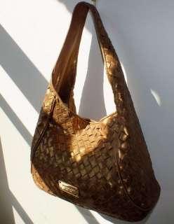 MICHAEL KORS Large Gold Basket Weave Leather Hobo Shoulder Purse Bag