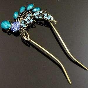 1 AUSTRIAN rhinestone crystal Antiqued flower hair fork