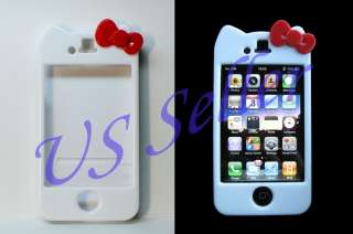 Hello Kitty White Hard Case Cover w/ Screen Protector For iPhone 4 4S