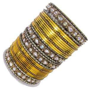 Set Of 32 Pc Bangle Yellow Ethnic Costume Bracelet Gift: Jewelry