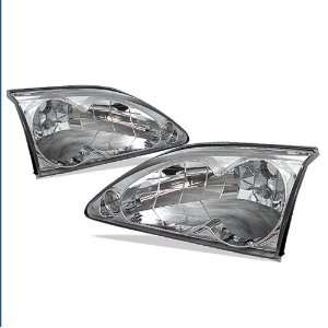 1994 1998 Ford Mustang Chrome Euro Crystal Headlights