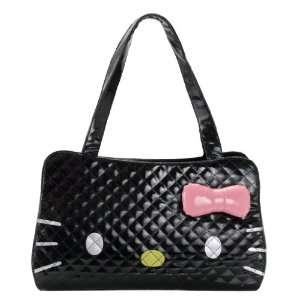 Hello Kitty Quilted Face Faux Leather Tote Hand Bag Purse