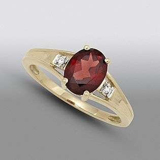 Garnet and Diamond Oval Accent Ring. 10K Yellow Gold  Jewelry