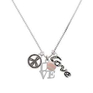 Silver Love with Pink Softball, Peace, Love Charm Necklace