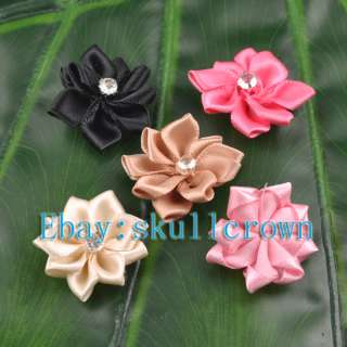 Mix Lots 100pcs Satin Ribbon Flower With Crystal Bead Appliques LA7068