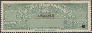 NEW HAMPSHIRE State Revenue Tobacco Tax Stamp SRS NH T12AS s/e