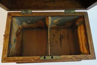 ANTIQUE Gorgeous Large Oak WOOD w/ Brass Pulls 2 Section Tea Caddy Box