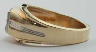 CT Solitaire Diamond Mens Wedding Band Ring 14K Yellow Gold Sz
