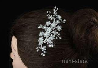 Bridal Handmade Flower Quality Crystal Hair Comb T1387