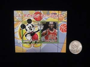 MICHAEL JORDAN MICKEY MOUSE DISNEY STAMP from AFRICA 800F