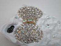 Cake Pearl Bling Bow Crystal Case Cover for iPhone 4 4S Black White XF
