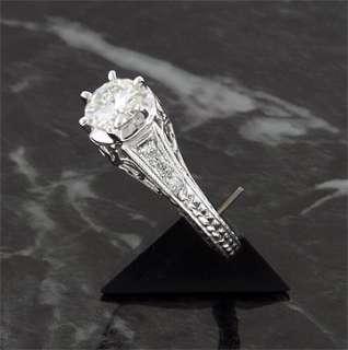 14 CT 14KW MOISSANITE & DIAMOND ANTIQUE FILAGREE RING