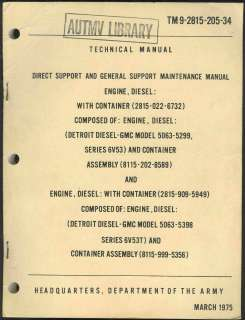 205 34 Maintenance manual Engine, Detroit Diesel GMC model 1975