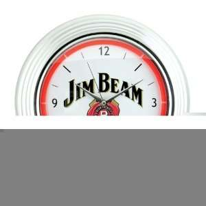 Jim Beam 14.75 Chrome Frame Wall Clock  White Home