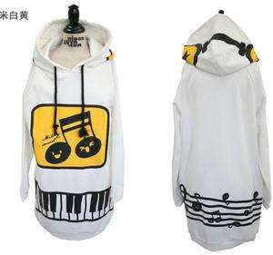Women Cute Music Piano Hoodie Pullover Sweat Shirt Outerwear Long Tops