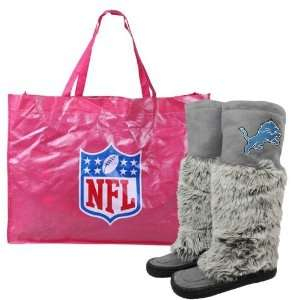 Detroit Lions Womens Devotee Knee High Boots   Gray