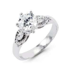 Marquise Cut CZ 14k Solid White Gold Engagement Ring