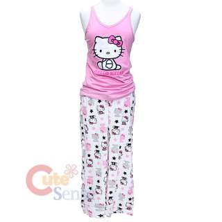 Hello kitty PJ Pink Tank Top & White Capri Pants Set