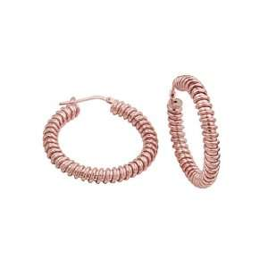 Thickness Rose Gold Plated Contemporary Hoop Earrings for Women (1.4
