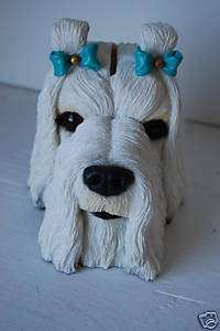 Maltese Dog Piggy Coin Money Bank
