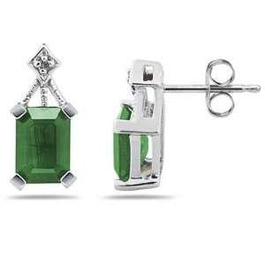 Emerald Cut Emerald & Diamond Earrings in 14K White Gold
