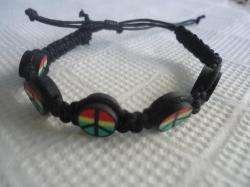 Friendship Peace Sign Handmade Hand Knitted Wristband Bracelets 2 Pack