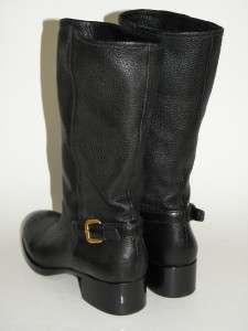 Black Leather Back Buckle Motorcycle Short Boot Shoe 36 NIB