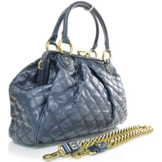 MARC JACOBS Quilted Leather STAM Bag Purse Petrol MJ