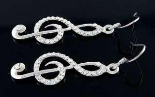 Shiny Treble Clef Music Note Clear Crystal Earrings E52