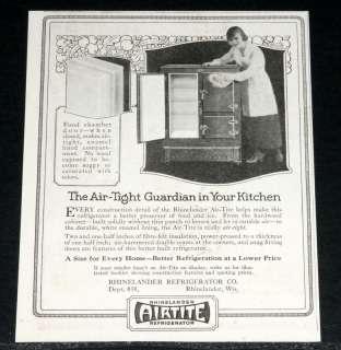 1921 OLD MAGAZINE PRINT AD, AIRTITE RHINELANDER REFRIGERATOR, AIR
